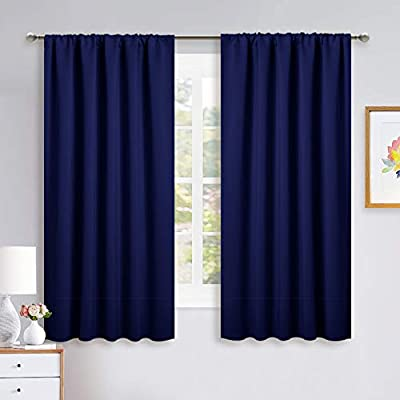 NICETOWN Curtains Blackout Draperies - Modern Design Thermal Insulated Solid Rod Pocket Top Blackout Drapes for Kid's Bedroom, Window Covering (Royal Blue, 1 Pair, 52 x 63 inches) - ELEGANT DESIGN: 2 panels per package. Each Blackout Curtain Panel measures 52 inches wide x 63 inches long. The NICETOWN drapery is constructed with rod pocket, fitting the curtain rod of your choice up to 2 inches in diameter, making the curtains easy to install and slide. LENGTH ADJUSTABLE: Don't worry if this blackout curtains are few shorter than your windows. You can hang this curtain panels with rings and hooks. That could be adjustable for height max 3 inches. Hooks space distance around 4-6 inches. AMAZING MATERIAL: This unique, soft and heavy-duty blackout fabric is woven with a three layer construction. The middle layer of black yarns create a curtain panel that is excellent for blocking out 85%-99% of light (Dark color works better on blocking light) while providing privacy. - living-room-soft-furnishings, living-room, draperies-curtains-shades - 41BZTOU2WuL. SS400  -