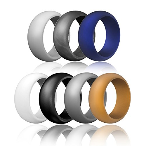 Silicone Wedding Ring For Men Affordable Silicone Rubber Ring,Fitness, Outdoor Activities,Sports, Weightlifting,Yoga,7 Pack (9)