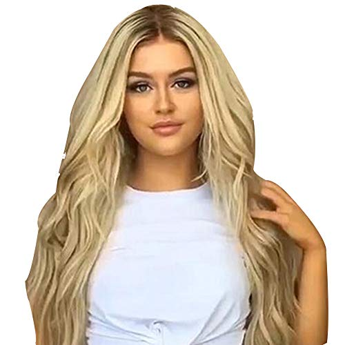 Big Wavy Wigs for Women Long Synthetic Hair Blonde Brown Mix Heat Resistant for Costume Fancy Dress ()