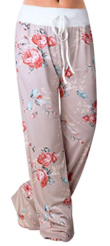 Sexymee Women's Cotton Pajamas Comfy Lounge Pants Floral Print Drawstring Wide Leg Palazzo Pants,Khaki 4,XX-Large