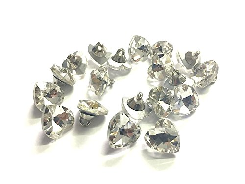 CraftbuddyUS CDB03-12CL Clear 20 x Glass Clear Crystal Heart Buttons Diamante Sew on Dress Ma