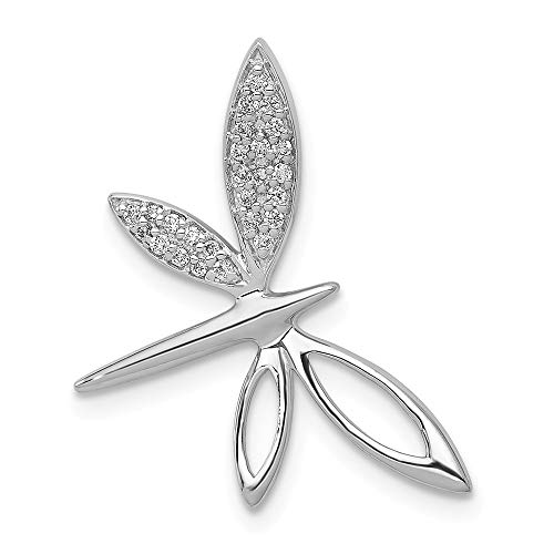 14k White Gold Diamond Dragonfly Chain Slide Pendant from Roy Rose Jewelry Dragonfly White Gold Necklace