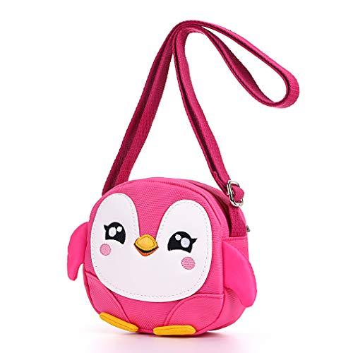 Hipiwe Kids Crossbody Purse Shoulder Bag Mini Cute Little Girls Purses Bags Cartoon Animal Preschool Messenger Handbag for Children Toddler Baby Girls (Pink Penguin)