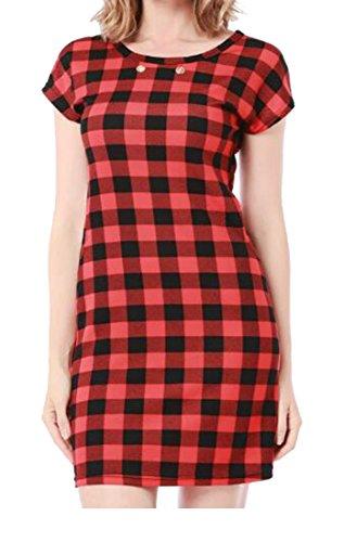 Dress Slim Women Mini BLTR Crewneck Pocket Short Plaid Five Sleeve U8fWFqPw