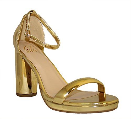 Deliziose Scarpe Da Donna Con Tacchi Alti Open Toe Cinturino Alla Caviglia Casual Décolleté A Spillo Casual Oro * Ek