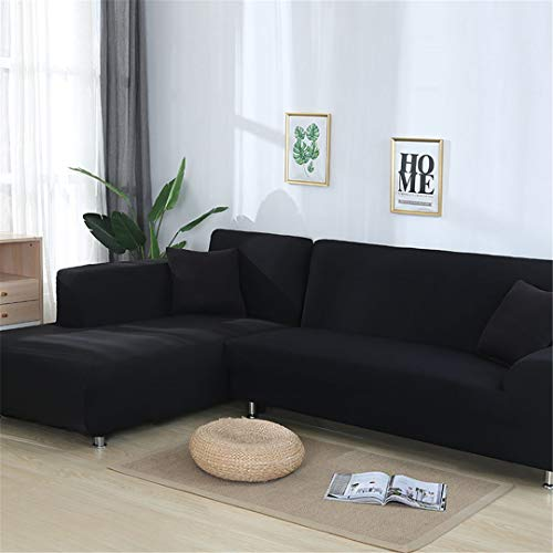 (Ranferuyk Grey Color Tight Wrap Sofa Cover Elastic Needs Order 2 Pieces Sofa Cover If L-Style Sectional Corner Sofa Black 1seater and 1seater)