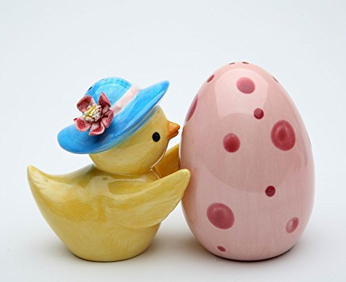 Cosmos Gifts 20878 Fine Ceramic Baby Chicken Chick and Pink Egg Salt and Pepper Shakers, 2-3/4