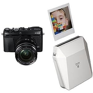 Fujifilm X-E3 Mirrorless Digital Camera w/XF18-55mm Lens Kit - Black + Fujifilm Instax Square SP-3 White