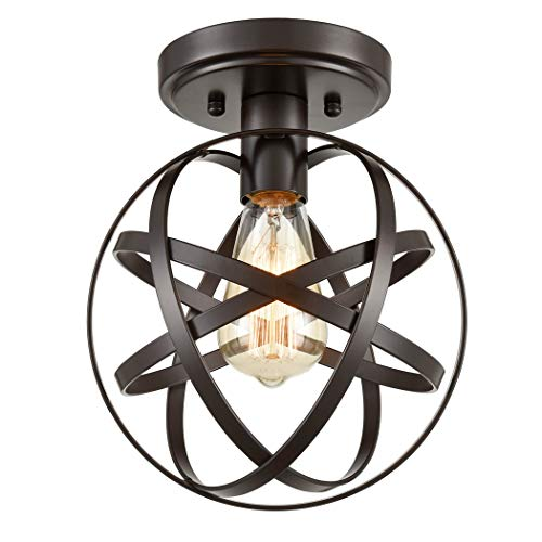 (CLAXY Ecopower Industrial Spherical Ceiling Light Metal Globe Flush Mount Light Fixture with Cage)