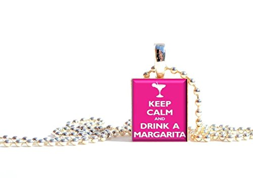 Drink Tile - Pendants by Prestarri Handmade Keep Calm and Drink a Margarita Wooden Scrabble Tile Pendant Necklace