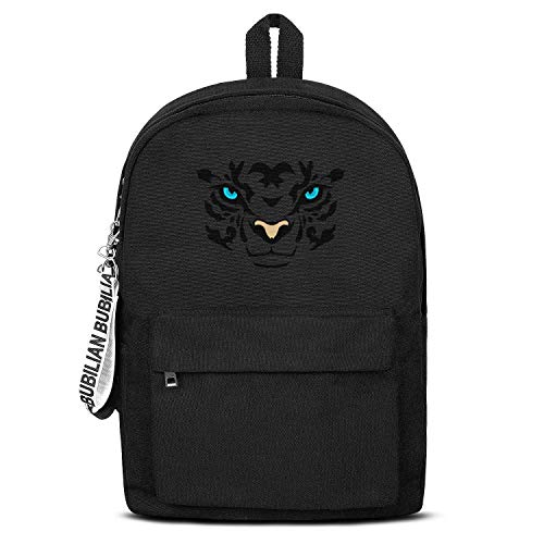 Animal Green Eyes Tiger Face Unisex Canvas Backpack Pretty Satchel Diaper Backpack for Girls Boys