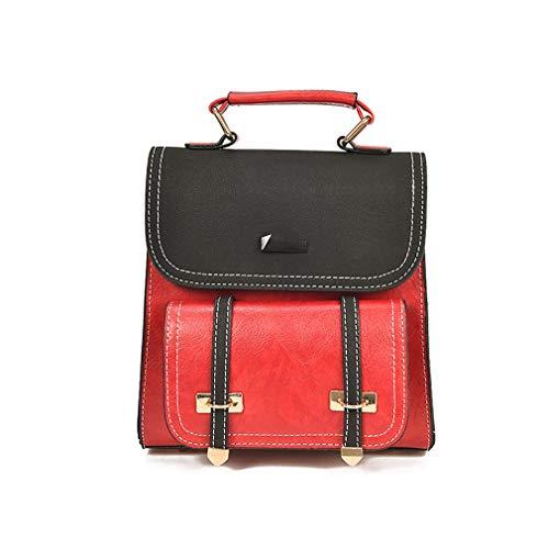 Sac à main de mode, sac à bandoulière en cuir de dames, sac à bandoulière de tendance, sac à dos léger, 19 * 9 * 21CM Rouge