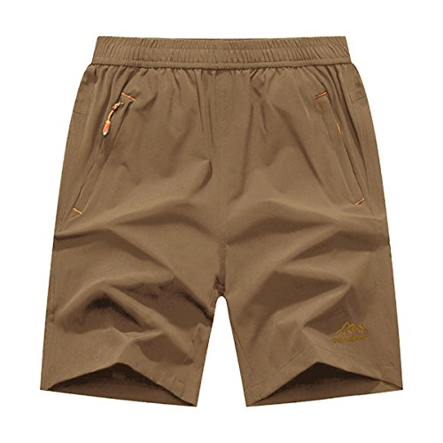 JINSHI Men's Outdoor Quick Dry Lightweight Sports Hiking Shorts Zipper Pockets (Khaki,L)
