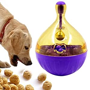 Pets Tumbler Leakage Food Ball Dog Training Exercise Fun Bowl Toys Size: 14 * 9.5cm (Color : Purple) Click on image for further info.