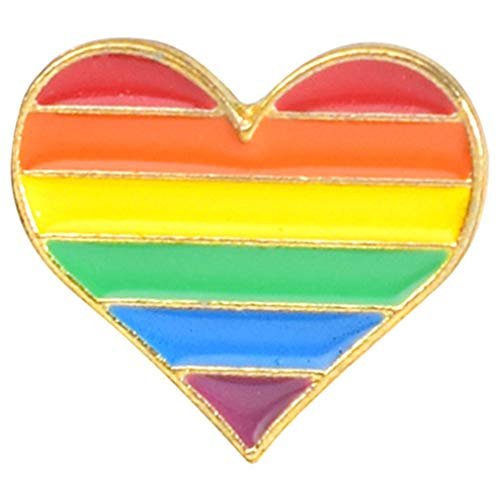Flairs New York Premium Handmade Enamel Lapel Pin Brooch Badge ([LGBTQ+] Rainbow Heart, 1 Pin)