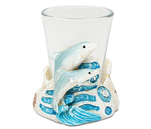 Puzzled Dolphin Resin Stone Finish Shot Glass Holder w/Clear Shot Glass Nautical Theme Seahorse Quality Glassware for Bars/Parties Liquor Drinking Glass Accessory Modern Unique Gift & Souvenir
