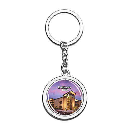 USA United States Keychain Horseshoe Casino Baltimore Key Chain 3D Crystal Spinning Round Stainless Steel Keychains Travel City Souvenirs Key Chain -