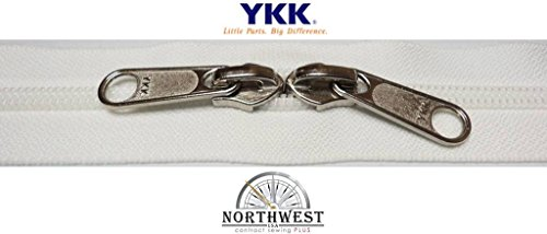 YKK #5 CN Zipper coil chain. Each yard comes with 1 slider. (White, 10 yards, 10 nickel sliders)