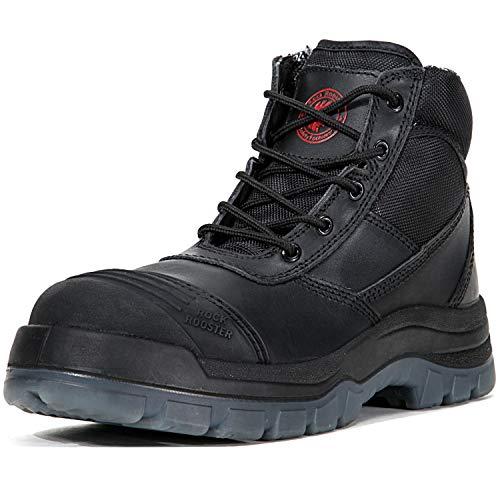 - ROCKROOSTER Men's Work Boots Waterproof, Steel Toe, Antistatic, Water Resistant Leather Shoes, Width EEE-Wide (AK050 Black, US 15)