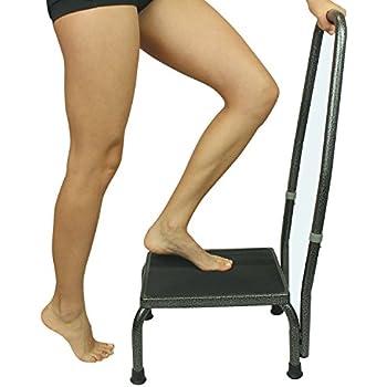 Amazon Com Step Stool With Handrail Black Health