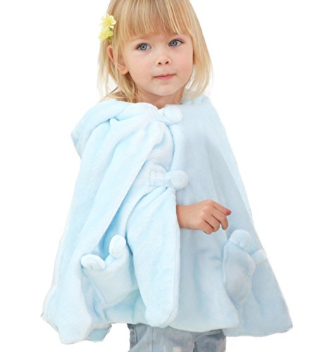 LETTAS Baby Toddler Infant Fleece Hoodie Easter Poncho Rabbit Ears Cape Coat Cloak,Blue,18-36 Months