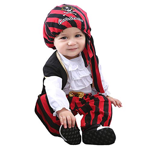 Rest-Eazzzy Baby Cap'n Stinker Pirate Costume for Halloween, 4 pcs Set