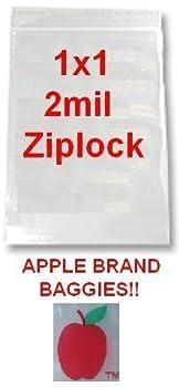 "1,000 1x1 2mil Apple Brand Clear Ziplock Bags 1 1010 1"" X 1000 Baggies"