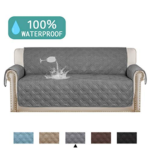 Turquoize 100% Waterproof Dog Couch Cover Quilted Sofa Protector Couch Covers for 3 Cushion Couch Soft and Smooth Quilted Furniture Sofa Covers for Living Room Machine Washable (Sofa 75 x 112) Grey (Waterproof Sofa Cover)
