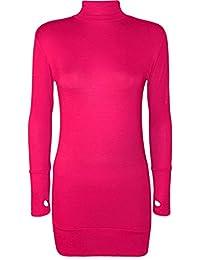 Forever Womens Stylish Plain Polo Neck Thumb Hole Bodycon Mini Dress Top