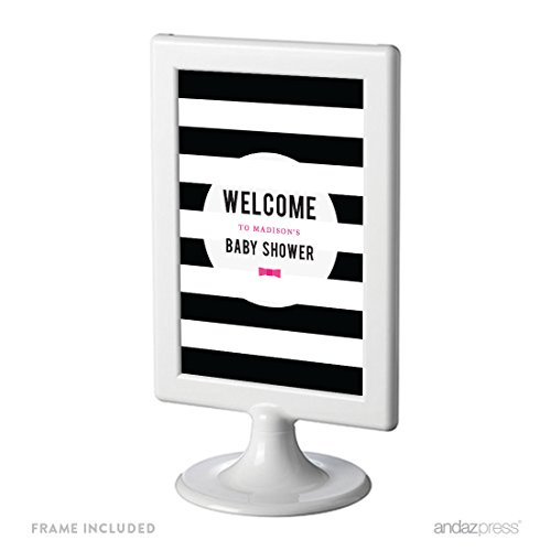 Andaz Press Modern Black and White Stripes Wedding Collection Personalized Framed Baby Shower Framed Party Signs, Framed Party Signs, Welcome to Madison's Baby Shower, 4x6-inch, 1-Pack