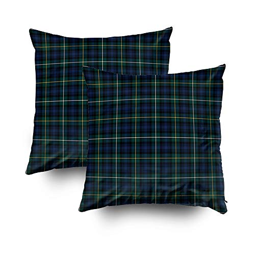 - Shorping Christmas Zippered Pillow Covers Pillowcases 18x18Inch 2 Pack Campbell Navy Blue Green Scottish Tartan Decorative Throw Pillow Cover Pillow Cases Cushion Cover for Home Sofa Bedding