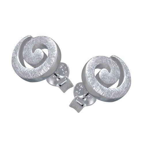 VINANI Ohrstecker Spirale gebuerstet Sterling Silber 925 Ohrringe OSP