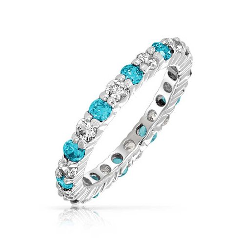 Cubic Zirconia London Blue White Alternating Stackable CZ Eternity Ring Simulated Topaz 925 Sterling Silver March Month ()