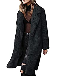 WISREMT Women Winter Warm Fuzzy Fleece Coat Open Front Cardigan with Pocket