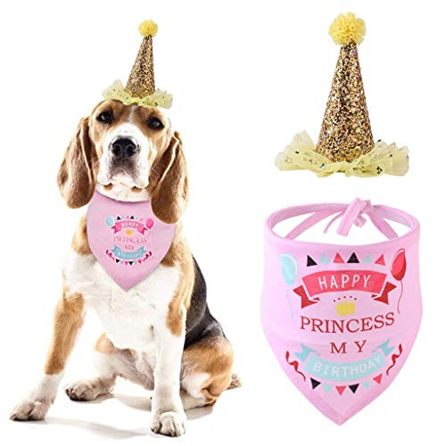 Hanesy Dog Birthday Hat Scarf Set, Pet Triangle Saliva Towel Dog/Cat Birthday Bandana Neck Decor Set For Dog Puppy Birthday Party Headwear Caps Washable Scarves Bib Kerchief Collars Birthday Gift