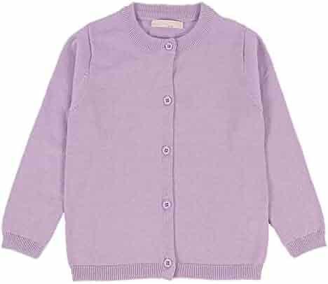 8387680c5 RJXDLT Girls Crewneck Cardigan Long Sleeve Children Button Cotton Sweater  Uniform Sweaters for Little Girls