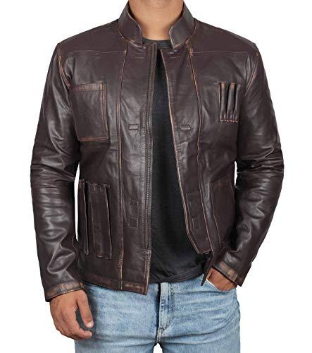 Decrum Distressed Brown Leather Jacket for Men (XL, Antique Brown)