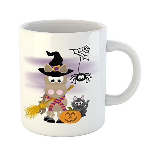 Emvency Coffee Tea Mug Gift 11 Ounces Funny Ceramic Cartoon Horse Celebrating Halloween Wearing Witch Hat and Striped Scarf Holding Gifts For Family Friends Coworkers Boss Mug -