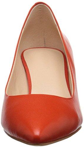 uBeauty,Damen Niedrige Absatz Büro Übergröße Pumps,Spitze Zehen Slip On Schuhe Orange PU