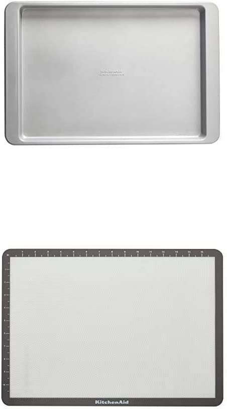 KitchenAid Nonstick Aluminized Steel Baking Sheet, 13x18-Inch, Silver With Silicone Large Baking Mat, 12x17-Inch, Gray