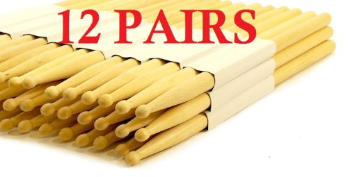 12-pairs-5a-wood-tip-natural-maple-drumsticks-pro-24-drum-sticks-new