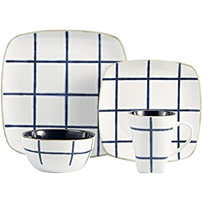 Click for American Atelier Squares 16 Piece Dinnerware Set, Blue