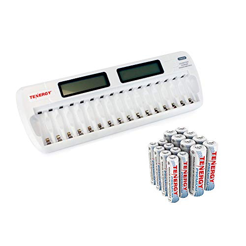 Tenergy TN438 16-Slot Smart Battery Charger for AA AAA NiMH NiCd Batteries with LCD Display + 8 AA and 8 AAA Premium Rechargeable Batteries ()