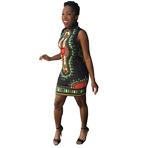 Aunimeifly Women's Summer Traditional African Print Sleeveless Turtleneck Dress Holiday Bohemian Knee Dress Black ()