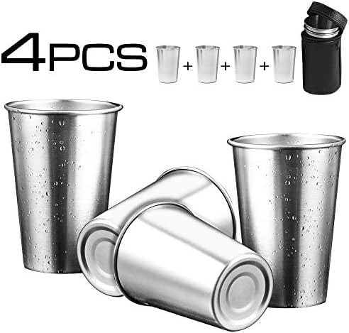 Stainless Steel Cups Water Tumblers, 5 Oz Unbreakable Stackable Pin Drinking Cups Metal Drinking Glasses BPA Free Bear Cup Camping Tea Coffee Mug with Travel Case for Adult Kids, Pack of 4