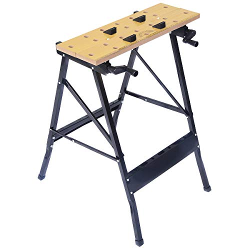 Goplus Folding Work Bench, 350lbs Weight Capacity Portable Workbench with Clamp, Pegs and Tool Holders (Best Portable Workbenches)