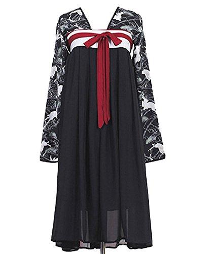 Japanese Gothic Fashion (Plaid&Plain Women's Hanfu Rabbit Suit Haori Gothic Style Dress With Style Long Suit)