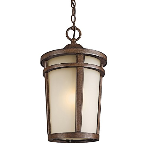(Outdoor Pendant 1 Light with Brown Stone Finish Medium Base Bulb 10 inch 150 Watts )