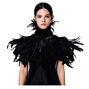 keland Gothic Feather Shrug Shawl Collar Necklace Halloween Costume Epaulettes