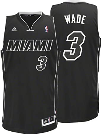 new arrival fe2c7 bc570 adidas NBA Men's Miami Heat Dwyane Wade Black-Black-White ...
